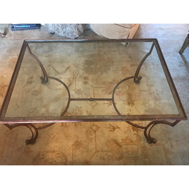 Large Rectangular Iron Glass Top Coffee Table - Image 3 of 7