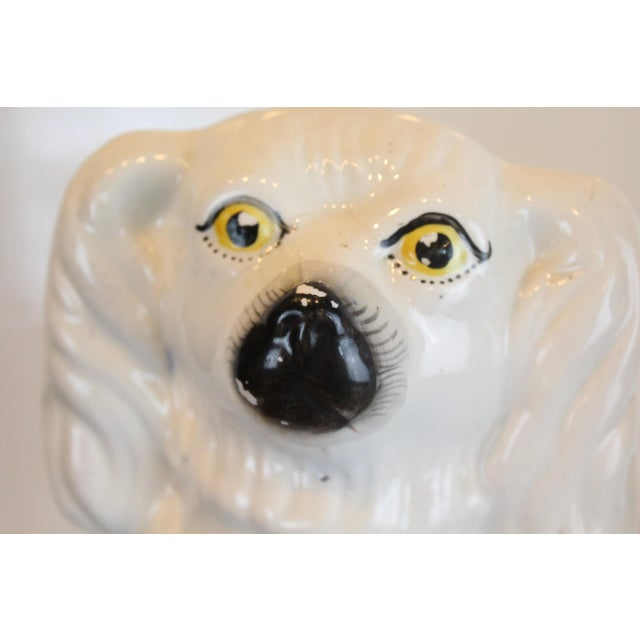 Traditional Vintage White Staffordshire Dog Figurines - a Pair For Sale - Image 3 of 8