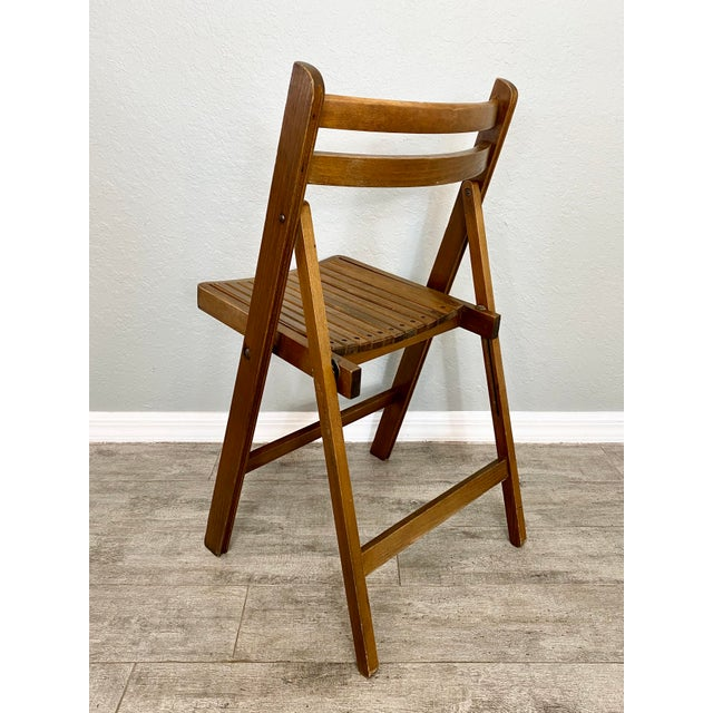Wood Mid Century Modern Slat Back Folding Chairs - a Pair For Sale - Image 7 of 9