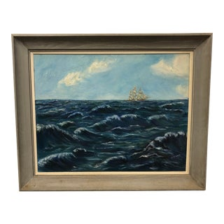 Vintage Framed Clipper Ship Oil Painting - Great Nautical Wall Art For Sale