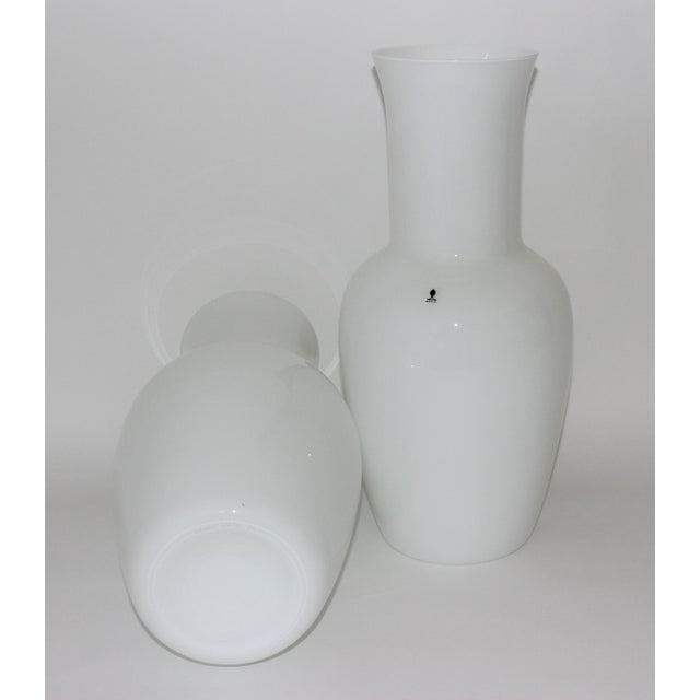 1970s Vintage Venini Murano White Glass Vases - a Pair - Part of a Collection For Sale - Image 5 of 10
