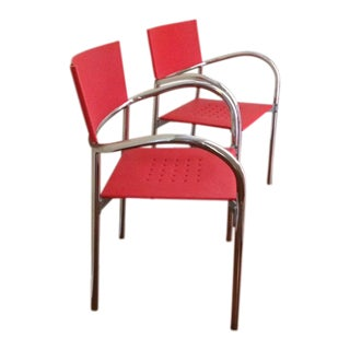 Mid-Century Loewenstein Stacking Red Fiberglass & Chrome Chairs