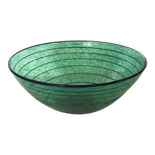 Signed Glass Green and Blue Spiral Bowl For Sale