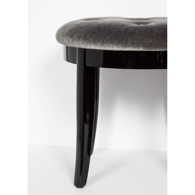 1940s Elegant Art Deco Stool in Black Lacquer and Grey Mohair For Sale - Image 5 of 6