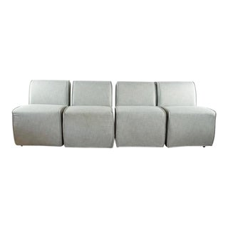 Set of 4 Restoration Hardware Gray Upholstered Chairs For Sale