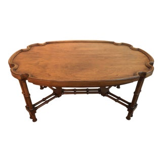 Vintage Brandt Chinoiserie Faux Bamboo Scalloped Top Solid Wood Coffee Table