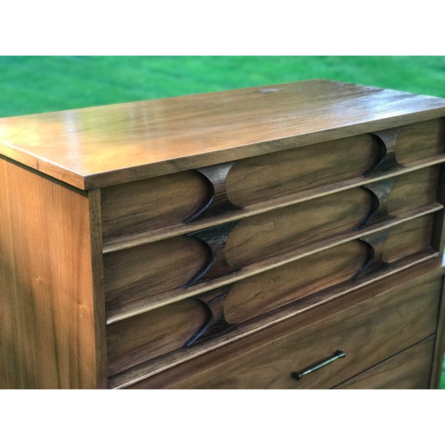 1960s 1960s Mid-Century Modern Kent Coffey Walnut & Rosewood Perspecta Highboy Dresser For Sale - Image 5 of 8