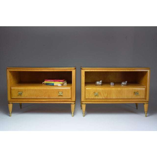 Mid 20th Century Italian Mid-Century Maple Wood Nightstands - a Pair For Sale - Image 12 of 13