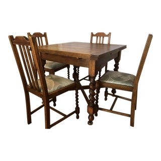 1920s Vintage English Barley Twist Oak Pub Table and Chairs - 5 Pieces