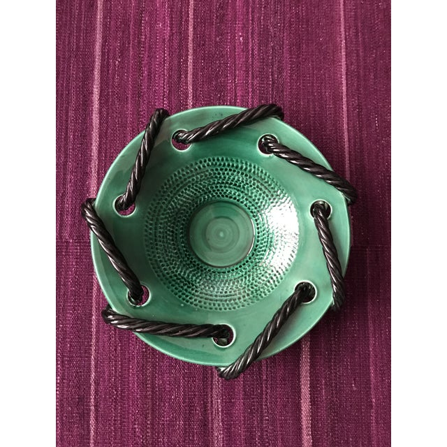 Mid 20th Century Vallauris Green and Black Mid Century Bowl For Sale - Image 10 of 10