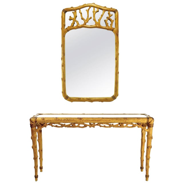 Faux Bois Carved Wood and Glass Console Table For Sale - Image 9 of 10