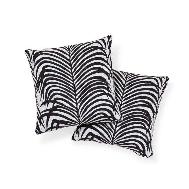 Contemporary Schumacher Zebra Palm Indoor/Outdoor Pillow in Black For Sale - Image 3 of 7