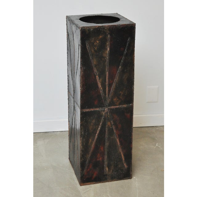 Paul Evans Sculptural Steel Planter Pedestal - Image 2 of 8