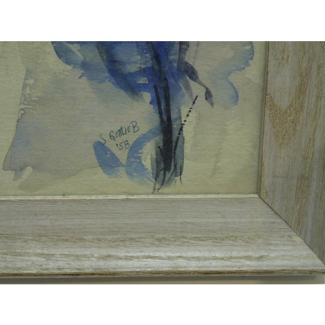 """Blue 1958 Americana Framed Original Painting, """"North Side of Pittsburgh"""" by S. Gottlieb For Sale - Image 8 of 11"""