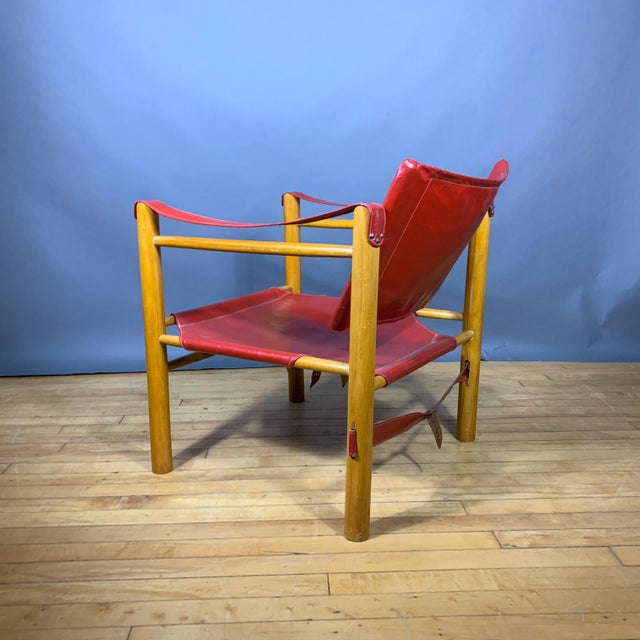 1980s Red Leather and Birch Safari Chair, 1980s For Sale - Image 5 of 9