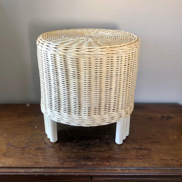 Vintage White Wicker Pouf Stools - a Pair For Sale - Image 4 of 6