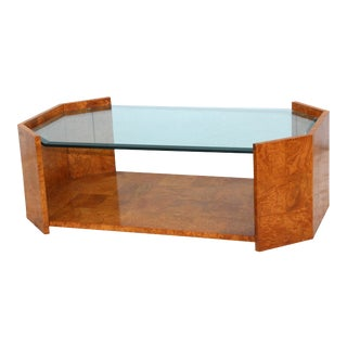1970s Mid-Century Modern Burl Wood Coffee Table For Sale