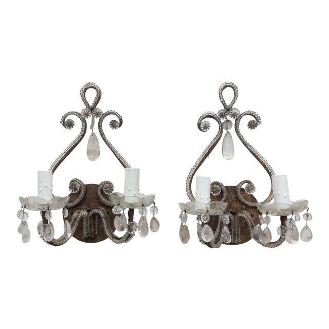 Rock Crystal Silvered & Beaded Metal Sconces - A Pair For Sale