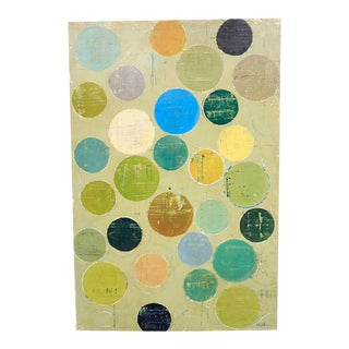 """""""Colorful Circles"""", Embellished Giclee Print on Wove Paper For Sale"""