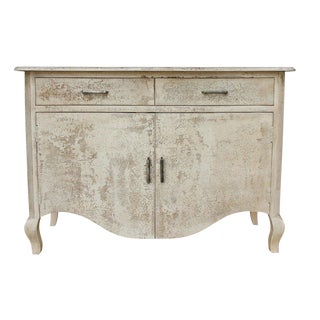 Roslin Two Door Wooden Cabinet for Living Room, Rustic Style, Green Wash, Cream Color For Sale