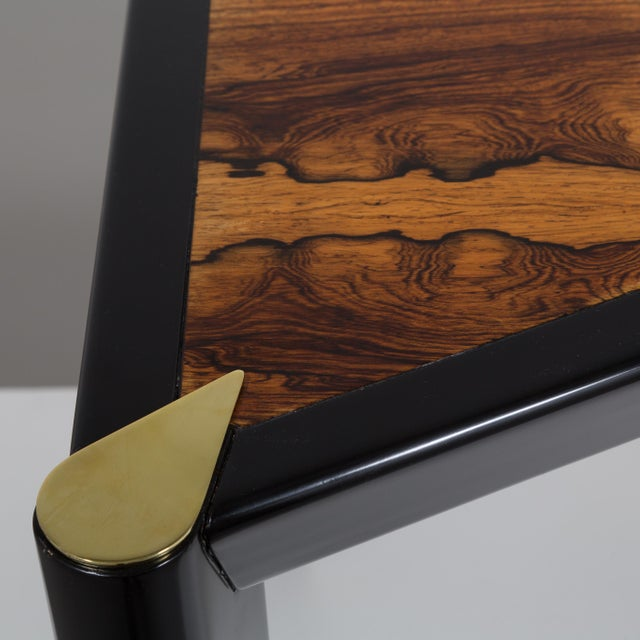 An Italian Ebonised Wood and Brass Games Table 1950s - Image 8 of 10