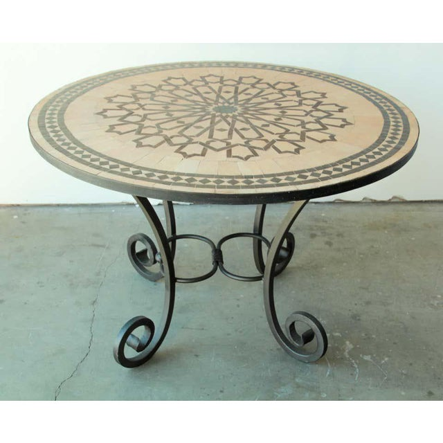 Concrete Moroccan Mosaic Outdoor Tile Table in Fez Moorish Design For Sale - Image 7 of 11