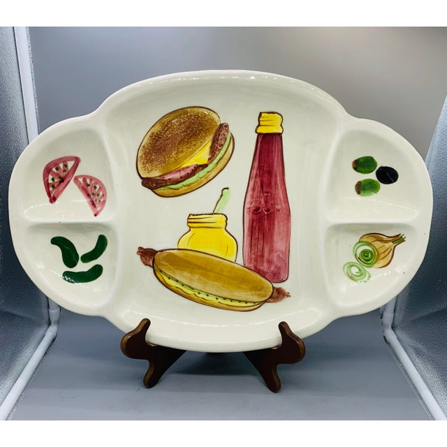 Los Angeles Potteries Bbq Grill Sectional Platter/ Vintage Hamburger and Hot Dog Serving Plate For Sale In Los Angeles - Image 6 of 11