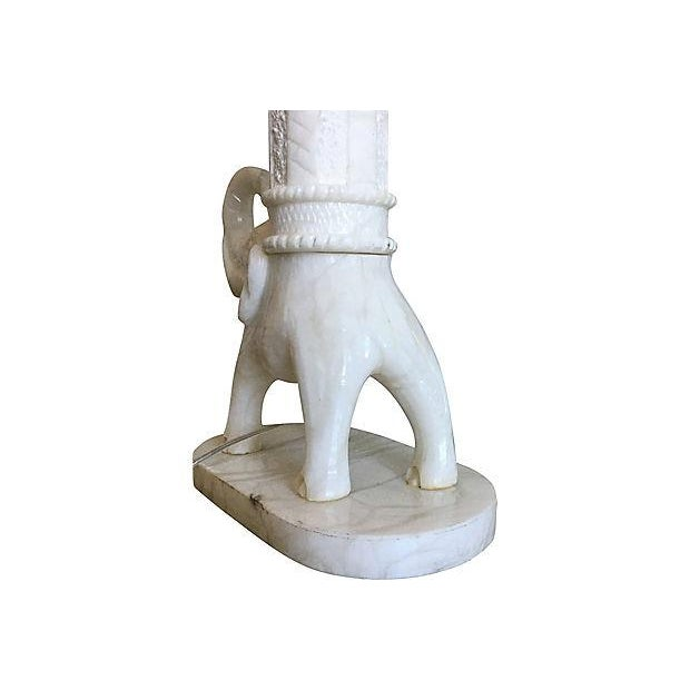 Metal Oversize Marble Elephant Lamp & Shade For Sale - Image 7 of 9