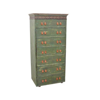 Antique Shabby Chic Distressed Green Tower Chest For Sale