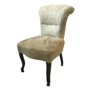 1930s French Deco Side Chair Upholstered in Hide on Hair For Sale