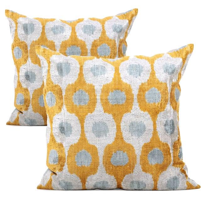 Grey & Mustard Silk Velvet Pillows - A Pair - Image 1 of 3