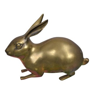 1980s Brass Rabbit Figurine For Sale