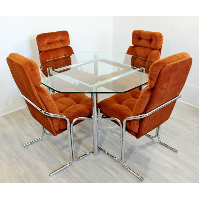 For your consideration is a magnificent dinette set, including four upholstered side chairs, and an octagon shaped glass...