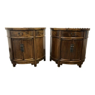 Late 18th Century Shanxi Wood Demi Lune Consoles - a Pair
