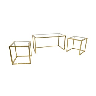 Brass, Steel and Glass Nesting Tables by Romeo Rega, Italy, 1970s