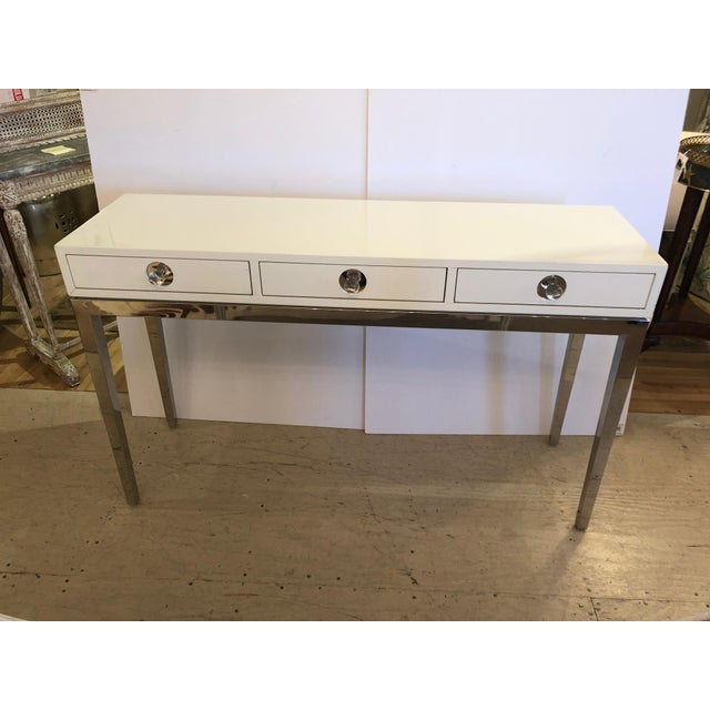 Contemporary Jonathan Adler White Lacquer and Chrome Console For Sale - Image 12 of 12