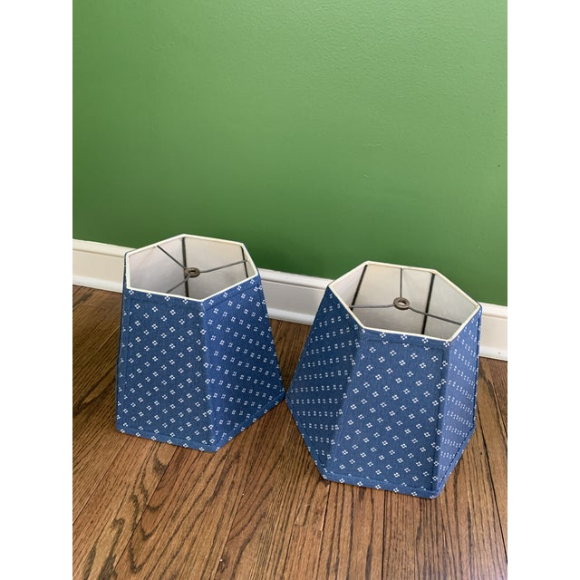 Darling hexagonal patterned lampshades. Beautiful blue and ivoryprinted fabric. I have 2 set of these available, so four...