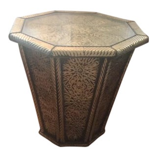 Moroccan Brass Silver Alloy Plated With Glass Octagonal Top Side Table