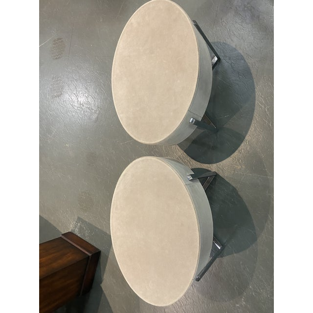 Pair of Custom Made Suede End Tables With Stainless Steel Frame For Sale - Image 9 of 10
