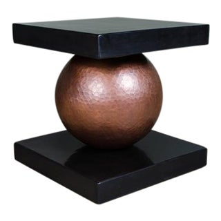 Copper Sphere Table w/ Square Lacquer Top For Sale