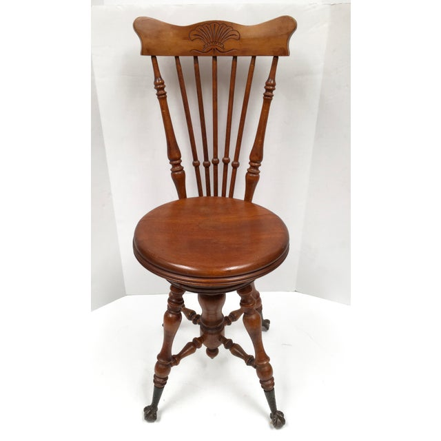 Brown Antique Victorian High Back Swivel Piano Stool For Sale - Image 8 of 8