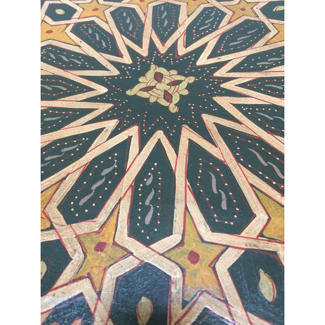 Islamic Moroccan Hand-Painted Dark Green Octagonal Side Table For Sale - Image 3 of 10