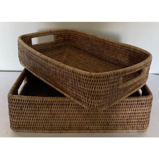 Rattan Woven Baskets - a Pair For Sale - Image 11 of 11