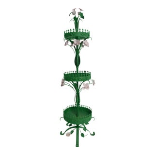 Late 19th Century Vintage French Green Three - Tiered Planter For Sale