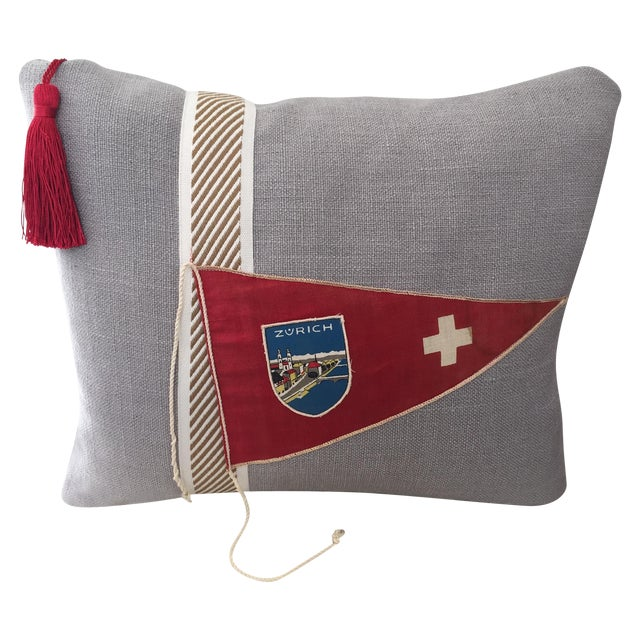 """Hit the Road!"" Vintage Travel Pennant Pillow - Image 1 of 5"