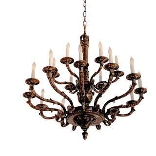 Late 20th Century Palatial Twenty-Light Bronze Chandelier For Sale