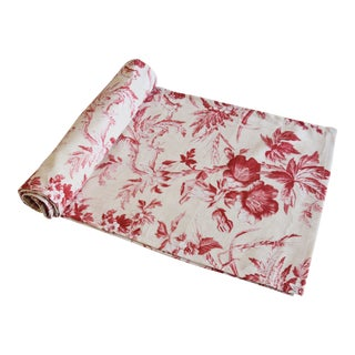 "Custom French Red & Ivory Trailing Floral Toile Table Runner 110"" Long For Sale"