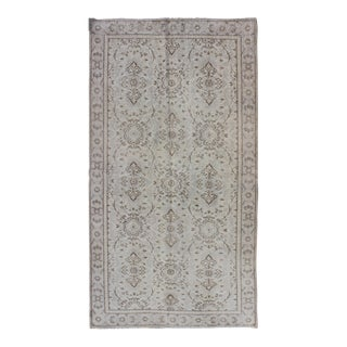 Vintage Mid-Century Turkish Oushak Grey Rug - 3′7″ × 7′ For Sale