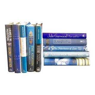 """ Shades of the Ocean "" Assortment of Large Bluetone Hardcover Fiction Books - Set of 10, Order as Many Sets You Need! For Sale"