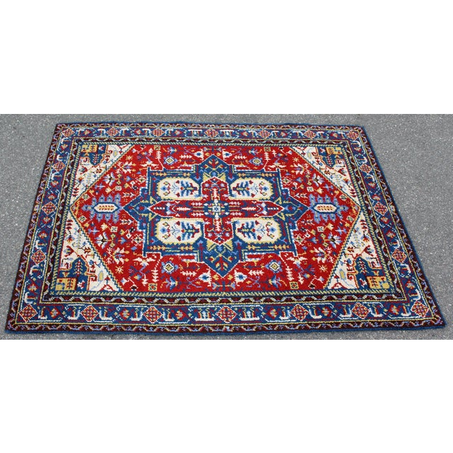 Mid-Century Modern Mid-Century Modern Hand-Knotted Area Rug Carpet Swedish Style Blue Red For Sale - Image 3 of 6
